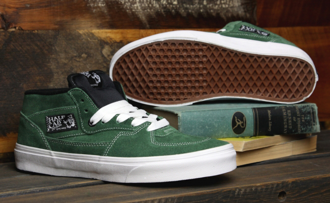 9f6578b074 Continuing the 20th anniversary celebrations Vans have just released the Half  Cab in this suede Forest Green White colour way.